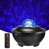Delicacy LED Sternenlicht Projektor, Rotierende Wasserwellen Projektionslampe, Ferngesteuerte Nachtlichter, Farbwechsel Musikspieler mit Bluetooth & Timer, Kinder Erwachsene Zimmer Dekoration Geschenk