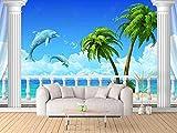 Balkon Strand Delfin Kokosnuss Wandbild 3D Tapete Dekorative Tapete fototapete 3d effekt tapeten Wohnzimmer Schlafzimmer kinderzimmer-200cm×140cm