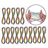 JZK 15 x Regenbogen Fadenspiel Fingerspiel Fingertwist Rainbow Ropes für Kinder Party Geburtstag Party Favors Mitgebsel Gastgeschenk Geschenk