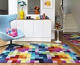 Moderner Designer Wollteppich Festival Multicolor 120x170cm - Reine Wolle in Leuchtend bunten Farben