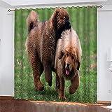 NQING 3D Digitaldruck Dog Series Polyester Vorhänge, Schattierung Und Rauschunterdrückung Vorhänge Mit Ösen 2xB132xH214cm
