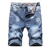 Herren Jeans Shorts Zerrissene Jeans Kurze Hosen Sommer Freizeit gerade Bermuda Jeans Stretch Denim Shorts Jeansshorts Regular Fit Destroyed Männer Denim Jeansshorts