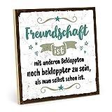 TypeStoff Holzschild mit Spruch – BEKLOPPTE Freunde – im Vintage-Look mit Zitat als Geschenk und Dekoration zum Thema Freundschaft (19,5 x 19,5 cm)