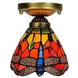 DALUXE Tiffany Lichtdecke 6 Tiffany Corridor Gasse Glas Deckenleuchte Balkon rote Zuglamp