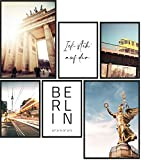 Papierschmiede® Mood-Poster Set Berlin | 6 Bilder als stilvolle Wanddeko | 2X DIN A4 und 4X DIN A5 | Hauptstadt Brandenburger Tor - ohne Rahmen