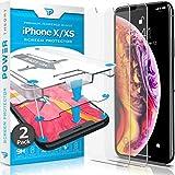 Power Theory Panzerglasfolie für iPhone XS/iPhone X [2 Stück] - Schutzfolie mit Schablone, Panzerfolie, Glas Folie, Displayschutzfolie, Schutzglas