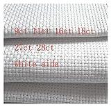 AIDA Tuch 14CT 16CT 18CT 28CT 27ct 25x25cm Kreuzstich Stoff Leinwand Kleine Gitter Weiß Farbe DIY Handcraft Nähte Stickerei (Farbe : 27ct, Größe : 25x25cm)