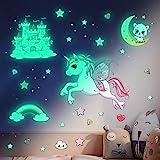 Leuchtsterne Selbstklebend Wandtattoo Kinderzimmer Mädchen Einhorn Wandsticker Sternenhimmel Aufkleber Prinzessin Schlos Leuchtaufkleber Leuchtsticker Babyzimmer Deko für Mädchen Jungen Geschenk