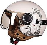 XWW Open Face Helm Motorradhelm Vintage Jet Helm Fliegerhelm Cruiser Scooter Helm ECE D.OT Zugelassener Unisex Helm
