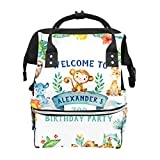 Zoo-Geburtstagsparty-Aquarell-Schulrucksack mit Safari-Tiermotiven, große Kapazität, Mama-Taschen, Laptop-Handtasche, lässiger Reiserucksack für Damen, Herren, Erwachsene, Teenager, Kinder