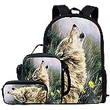 Wanyint Custom Schulrucksäcke für Jungen Grils Schulranzen Set Büchertasche Lunchbox Federtasche Leicht 3 in 1 für Teenager Studenten Gr. Medium, coole Wolf
