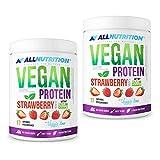 2x ALLNUTRITION Vegan Protein 500g | Erdbeere Strawberry | Whey Eiweißpulver Abnehmen | Nahrungsergänzungsmittel