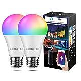 LE Alexa Lampen E27, 9W smart Lampe Smarthome Glühbirnen, 806lm Wlan Licht, Mehrfarbige Dimmbare Birne, Smart LED E27, WiFi Bulb Light, App Steuern kompatibel mit Amazon Alexa Echo Google Home, 2 Pack