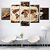 5 Stück Leinwand Malerei Wandkunst Körner Gewürze Weltkarte Bilder Modulare Lebensmittel Poster Wohnzimmer Home Decoration-200 * 100cm-gerahmt