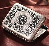 WANGXNCase Metall Kupfer Zigarettenetui Herren Retro Antik Silber tragbare Zigarettenschachteln halten 16 gewöhnliche Zigaretten