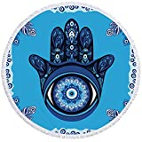 YanHui-LZC Strand Evil Eye Beach Tuch Mandala Runder Badetuch Hand blau Toalla Sunblock Decke Pfau Feder Strandmatte für Kinder Frauen Männer Jungen Mädchen (Color : Blue)