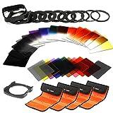 K&F Concept Objektiv Square Filterset 40 Stücke Quadratische Filter Set mit Verlaufsfilter Farbfilter Set ND Fliter Graufilter Filteradapter F