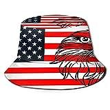 Fischerhut mit amerikanischer Weißkopfadler auf Flagge, UV-Schutz, leicht, atmungsaktiv, breite Krempe, verstaubare Sonnenkappen für Damen und Herren, Outdoor, Angeln, Strand, Wandern, R