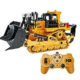 Voupuoda 1:24 2.4G 9CH RC Bulldozer RC Traktor LKW Bautechnik Fahrzeuge mit Einer Schlüsseldemonstration LED-Lichtsimulation Soundfunktion Lernspielzeug für Kinder