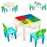 COSTWAY 6 in 1 Kinder Spieltisch mit 300 Stücke Bausteinen, Bausteintisch mit Aufbewahrungsboxen und doppelseitiger Tischplatte, Kindertisch mit 2 Stühle, Sitzgruppe für Kinder ab 6 Jahren