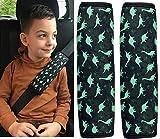 HECKBO 2x Dino Dinosaurier Auto Gurtschutz Sicherheitsgurt Schulterpolster Gurtschoner Schulterkissen Autositze Gurtpolster für Kinder Jungen Jungs Mädchen