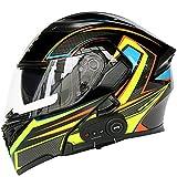Bluetooth Modularer Motorradhelm Erwachsener ATV Motocross Klapphelm Unisex Dirt Bike Motorrad Integralhelm DOT/ECE zertifizierter Helm FM/1200 Mah/MP3 Etc,B,XXL