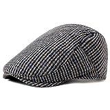 PORSYOND Herren Schiebermütze Wolle Hahnentritt Fischgräten-Tweed Cabbie Ivy Newsboy Cap Driving Cap - Grau - Einheitsgröße