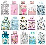 Wasserbetten-Markenshop Kinder Bettwäsche 100 x 135 cm + Kissen 40 x 60 cm 100% Baumwolle, mit verschiedenen Motiven - Kinderbettwäsche Set, Babybettwäsche, Baby Dino