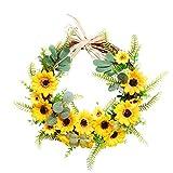 Osterkranz, 20 Zoll, Blütenkranz, Türkranz, Dekokranz, Natur, Kranz, Künstlicher Gelb Sonnenblumenkranz der Ostern Dekorativ für Haustürwand zu Hause (A, 1PCs)