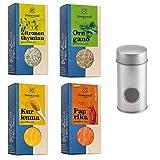 Sonnentor BIO Grill-Gewürzset: Zitronenthymian geschnitten (20 g) + Oregano geschnitten (18 g) + Kurkuma gemahlen (40 g) + Paprika edelsüß gemahlen (50 g) + Streudose - BIO-AT-301