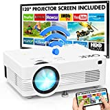 QKK AK-83 WiFi Beamer [Mit 120 Zoll Beamer-Leinwand], 1080P Full HD Unterstützung, Mini Wireless Projektor 6000 Lumens, Beamer WLAN Full HD, Kompatibel mit TV Stick Smartphone Tablet HDMI VGA USB AV