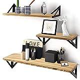 NUZEKY Wandregal Holz Hängeregal 3er Set, Schweberegal im Vintage-Stil, bücherregal Wand, Wandmontage,für Dekos, Wohnzimmer, Schlafzimmer und Büro, Holzoptik