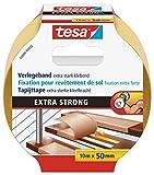 tesa Verlegeband extra stark klebend - Doppelseitiges Klebeband zum Verlegen von Teppich und PVC-Belag - doppelseitig klebend - 10 m x 50