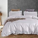 AShanlan 3 Teilig Bettwäsche Rüschen 200x220 Weiß Uni Einfarbig Romantisch Rüschenbettwäsche Set 100% Weich Mikrofaser Deckenbezug mit Kissenbezug 80x80 cm Reißverschluss