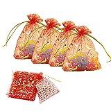 Chytaii 100 Stück Geschenktüten aus Organza, Schmuckbeutel, ideal für Schmuck, Geschenke, Süßigkeiten, für die Party, Hochzeit