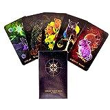 FEZD Orientalisches Magisches Tier-Tarot-Karten-Set, Tarot-Karte Und Anfängerbuch-Set (Englische) Karte, Tarot-Spielkarte (Paket, Tischdecke)
