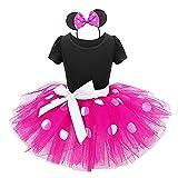 Z-YQL Baby Mädchen Tanzanzug mit Punkten, Kostüm, Cosplay, Geburtstag, Party, Tutu, Kleid Gr. 3-4 Jahre, rose