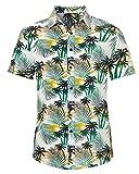 AIDEAONE Hawaiihemd für Herren Urlaub Blumen-Hemd Kurzarm Knopf Hemd Mode Plus Größe für Karneval