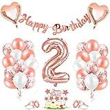 Luftballon 2, Geburtstagsdeko 2 Jahr Mädchen, 2 Geburtstag Mädchen Rosegold, Luftballons 2Geburtstag Deko, Happy Birthday Girlande Folienballon Zahl 2 Rose Gold, Zahlenballon 2 Ballon für Frauen
