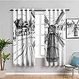LWXBJX Blickdicht Vorhang für Schlafzimmer - Weiß Windmühle Gebäude Landschaft - 3D Druckmuster Öse Thermisch isoliert - 200 x 160 cm - 90% Blickdicht Vorhang für Kinder Jungen Mädchen Spielzimmer