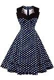AXOE Damen Polka Dots 60er Jahre Kleid Rockabilly Armellos Navy Gr.36, S