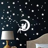 Wandtattoo-Loft 'Fluoreszierende Zauber Fee auf einem Mond mit Sternen Leuchtaufkleber - Wandtattoo Fluoreszierende leuchtende Sticker für das Kinderzimmer S