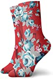Lustige Socken im Vintage-Stil, rote Chintz-Rosen-Muster, bedruckt, Sport-Socken, 30 cm lang