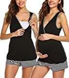 UNibelle Damen Soft Nursing Pyjama Set Mutterschaft Schwangerschaft Stillen Nachtwäsche(Schwarz,XXL)