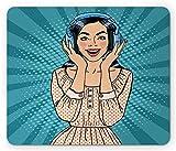 Musik-Maus-Pad, Pop-Art-Illustration Glückliche Frau in Retro-Kleidung mit Kopfhörern, Rechteck rutschfestes Gummi-Mauspad, Standard Multicolor