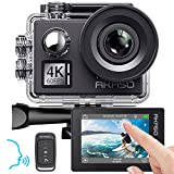 AKASO Action cam 4K/60fps /Action Kamera 20MP WiFi mit Touchscreen EIS 40M unterwasserkamera V50 Elite mit 8X Zoom Sprachsteuerung Fernbedienung Zubehör Kit Sportk