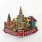Polen Hauptstadt Warschau Wahrzeichen Architektur Kulturwissenschaft Palast, Harz 3D K¨¹hlschrank Magnete, handgefertigt, touristische Souvenirs, K¨¹che Haushaltsgegenst?nde, Kunsthandwerk Dek