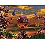 5D Diamant Painting Nach Zahlen Kits,Schmetterlingsball Diamand Painting Bilder Voll Set Kristall Strass Stickerei Mosaik Gemälde für Erwachsene Anfänger Raumdekor Wand Dekor 50x70cm