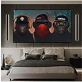 Drei denkende Affen Leinwandbilder große Größe lustige Kopfhörer Gorilla Tier Wandkunst Poster und Drucke Home Decor Bild 60x100cm (24x40in)
