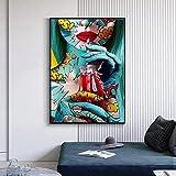 Leinwand Gemälde Graffiti Street Art Frau Trinken Mädchen Poster Wandkunstdruck Bilder Wohnzimmer Dekoration 60x80cm Rahmenlos